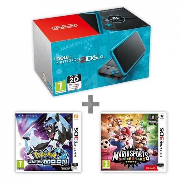 7efccd10e Nintendo NEW 2DS XL Black & Turquoise + Pokémon Ultra Moon + Mario Sports  Superstars -