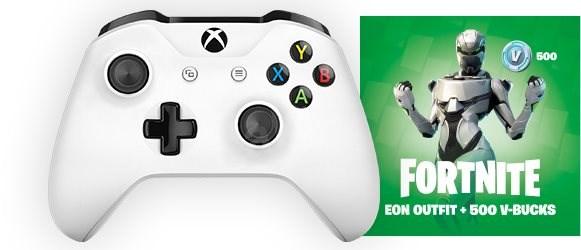 Xbox One Wireless Controller White + Fortnite Eon Bundle - Gamepad