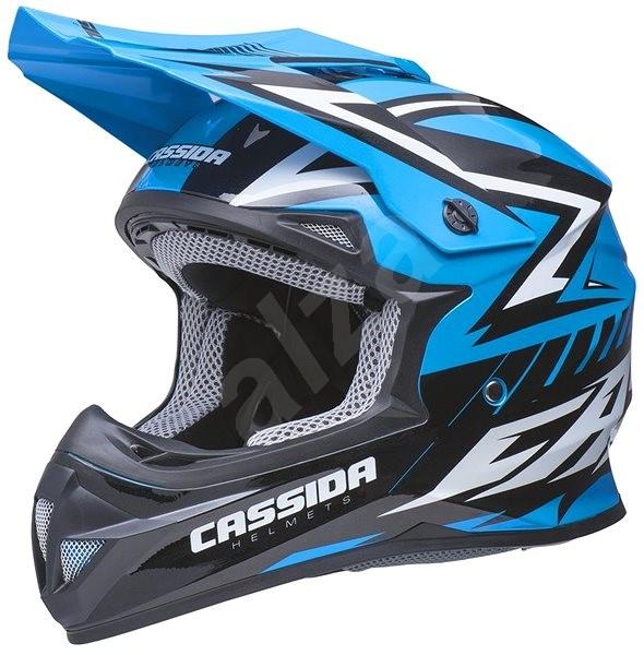 CASSIDA Cross Cup (biela perleťová/modrá/čierna, veľkosť 2XL) - Prilba na motorku