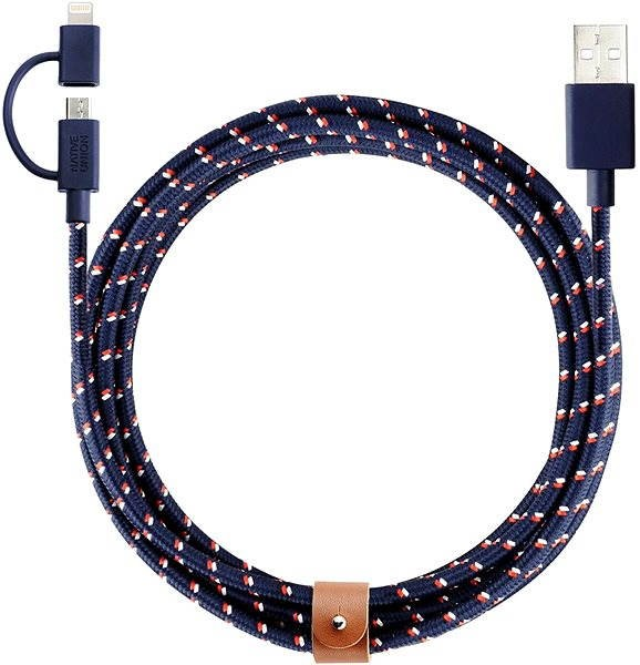 Native Union Belt Lightning Micro USB 2 m modrý - Dátový kábel