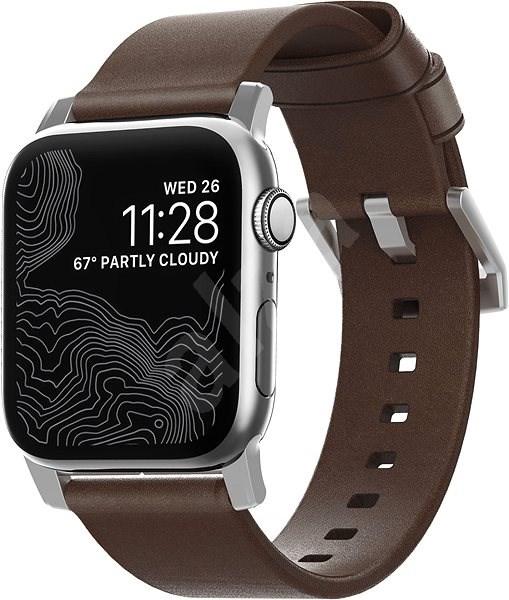 Nomad Leather Strap Modern Brown Silver Hardware Apple Watch 40/38mm - Remienok