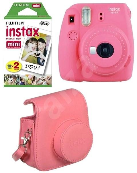 Fujifilm Instax Mini 9  ružovo červený + 20× film + puzdro + rámček - Instantný fotoaparát