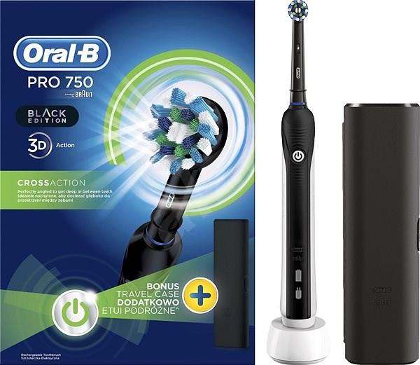 Oral B Pre 750 Black Cross Action + Cestovné puzdro - Elektrická zubná kefka