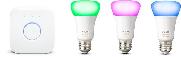 Philips Hue White and Color ambiance 9W E27 promo starter kit - LED žiarovka