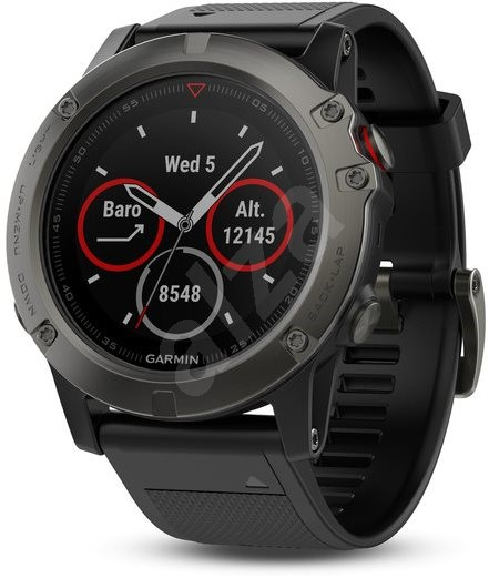 Garmin Fenix 5X Sapphire, Grey, Black band - Smart hodinky