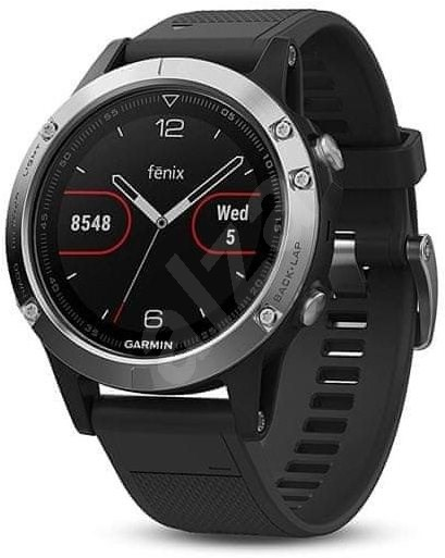 Garmin Fenix 5 Silver Optic Black band - Smart hodinky
