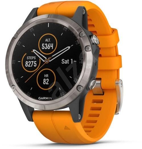 Garmin Fenix 5 Plus Sapphire Titanium Optic Solar Flare Orange Band - Smart hodinky