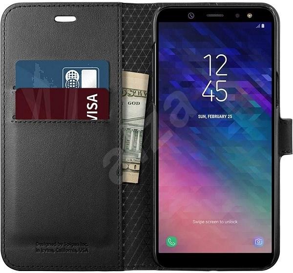 Spigen Wallet S Black Samsung Galaxy A6 - Puzdro na mobil