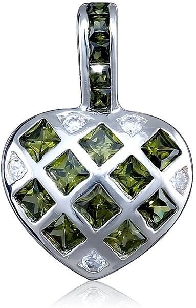 de14785a0 Strieborný prívesok, zirkón, srdce (925/1000, 3,1 g), zelená ...