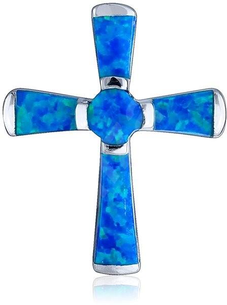 1b064b44d Prívesok strieborný, opál, kríž (925/1000, 3,3 g), modrý - Prívesok ...