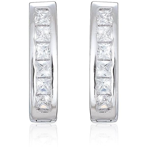 b062284dd Strieborné náušnice, zirkón, elegantné (925/1000, 2,5 g), biela ...
