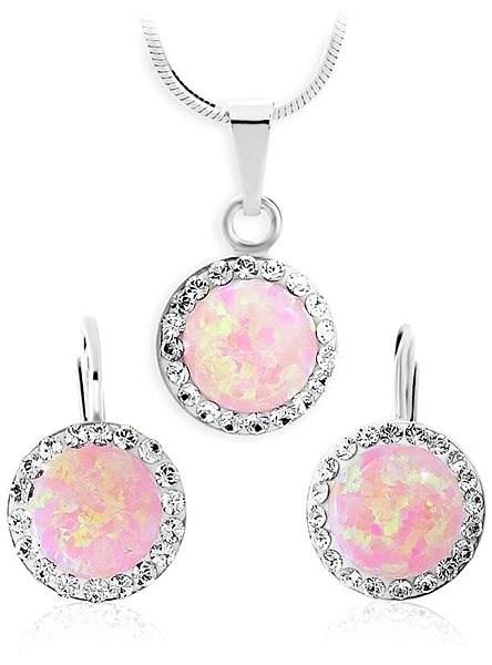 JSB Bijoux Strieborná súprava Opály s odtieňom Rosa zdobené krištáľovými kameňmi  Swarovski® - Darčeková sada 0c5afdc0e04