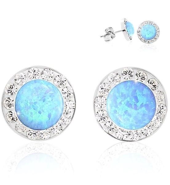 ed348310f JSB Bijoux Strieborné náušnice Opálky s obťahom Blue zdobené krištáľovými  kameňmi Swarovski® - Náušnice