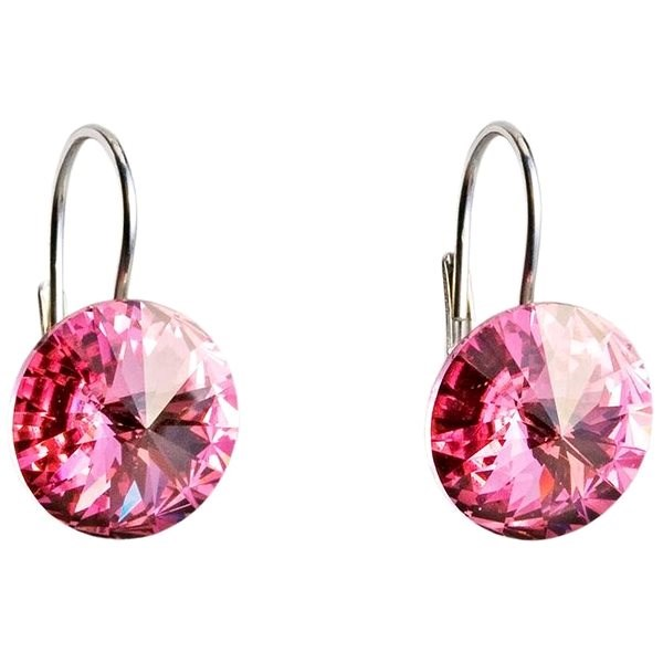 EVOLUTION GROUP 31106.3 růžová náušnice dekorované krystaly Swarovski® (925/1000, 2 g) - Náušnice