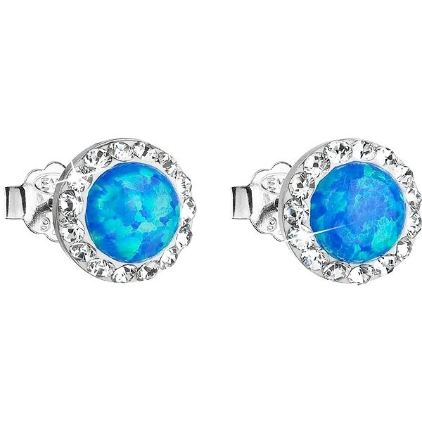 e04720c5a EVOLUTION GROUP 31217.1 modrý syntetický opál náušnice dekorované krystaly  Swarovski® (925/1000,