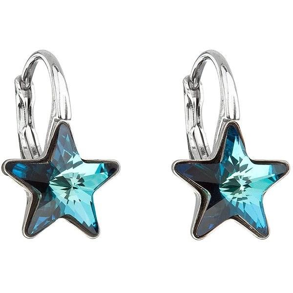 EVOLUTION GROUP 31227.5 visiace hviezdička bermuda blue dekorované kryštálmi Swarovski (925/1000, 1,4 g - Náušnice