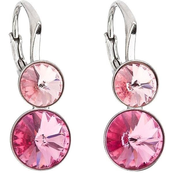 EVOLUTION GROUP 31233.3 růžová náušnice dekorované krystaly Swarovski® (925/1000, 2,8 g) - Náušnice