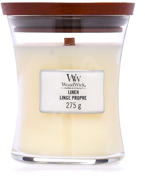 WOODWICK Linen Medium Candle 275 g - Sviečka