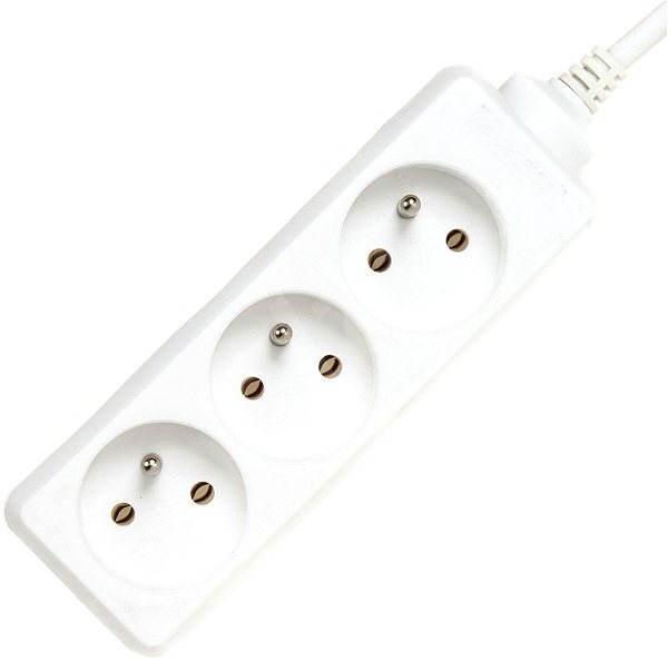 PremiumCord predlžovací prívod, biely, 3 m, 230 V, 3 zásuvky - Napájací kábel
