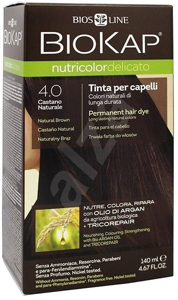 BIOKAP Nutricolor Delicato Brown Gentle Dye 4.00 140 ml - Prírodná farba na vlasy