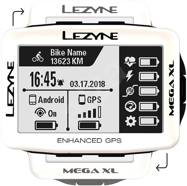 Lezyne Mega XL GPS White - Cyklocomputer