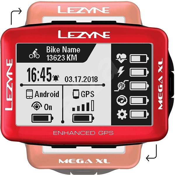 Lezyne Mega XL GPS Red - Cyklocomputer