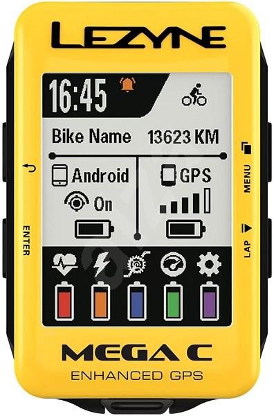 Lezyne Mega C GPS Yellow - Cyklocomputer