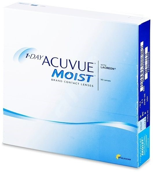 Acuvue Moist 1 Day (90 šošoviek) dioptria: +4.75, zakrivenie: 8.50 - Kontaktné šošovky