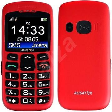 Aligator A670 Senior Red + Stolná nabíjačka - Mobilný telefón
