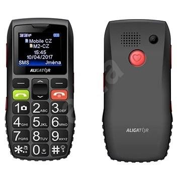 Aligator A440 Senior čierno-sivý + Stolná nabíjačka - Mobilný telefón