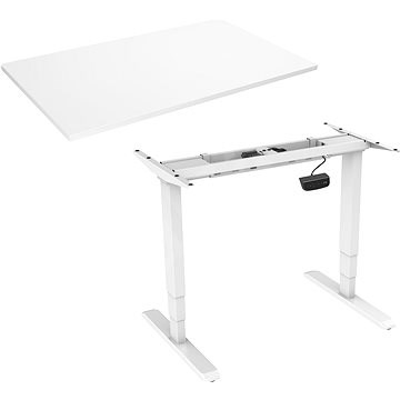 AlzaErgo Table ET1 NewGen biely + doska TTE-03 160 × 80 cm biely laminát - Stôl