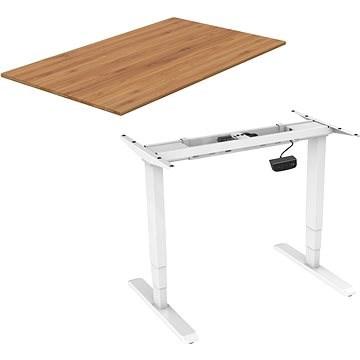 AlzaErgo Table ET1 NewGen biely + doska TTE-03 160 × 80 cm bambusová - Stôl
