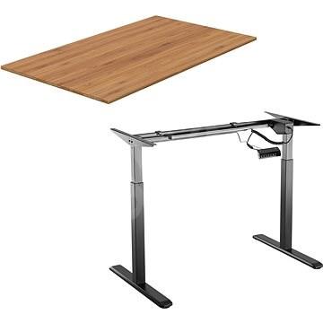 AlzaErgo Table ET2 čierny + doska TTE-03 160 × 80 cm bambusová - Stôl