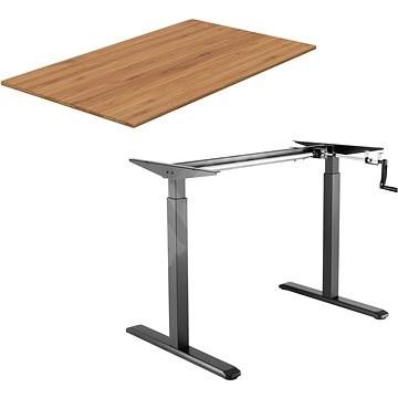 AlzaErgo Table ET3 čierny + doska TTE-03 160 × 80 cm bambusová - Stôl