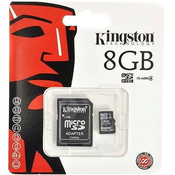 Kingston Micro SDHC 8GB Class 4 + SD adaptér - Pamäťová karta