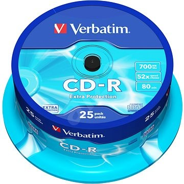 Verbatim CD-R DataLife Protection 80 m/700 MB 52× balenie 25 ks Cake-Box - Médium