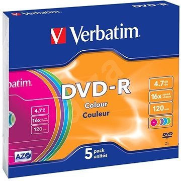 Verbatim DVD-R 16x, COLOURS 5 ks v SLIM krabičke - Médium