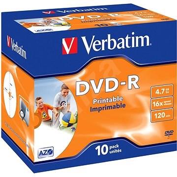 Verbatim DVD-R 16×, Printable 10 ks v krabičke - Médium