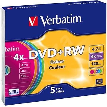 Verbatim DVD + RW 4x, COLOURS 5 ks v SLIM krabičke - Médium