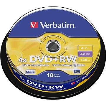 Verbatim DVD+RW 4x, 10 ks cakebox - Médium