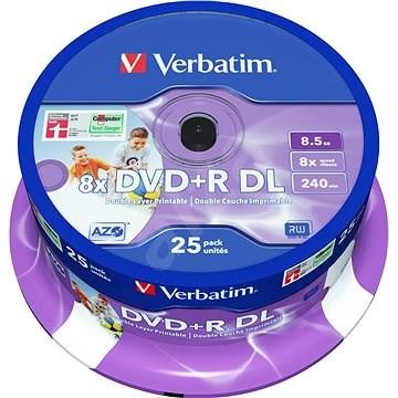 Verbatim DVD+R 8× Dual Layer Printable 25 ks Cake-Box - Médium