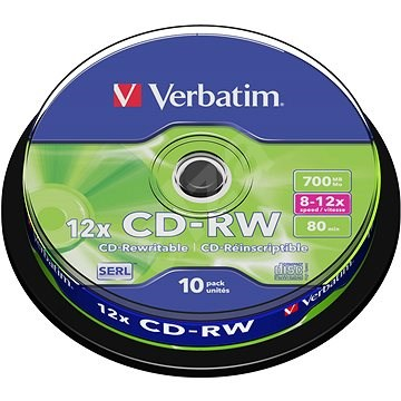 Verbatim CD-RW 10×, 10 ks Cake-Box - Médium