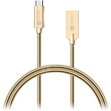 CONNECT IT Wirez Steel Knight Micro USB 1m, metallic gold - Dátový kábel
