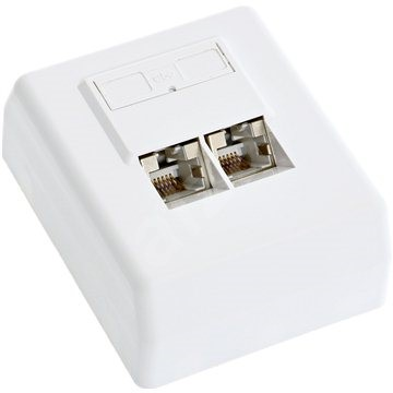 Datacom, CAT5E, STP, 2× RJ45, na omietku - Zásuvka