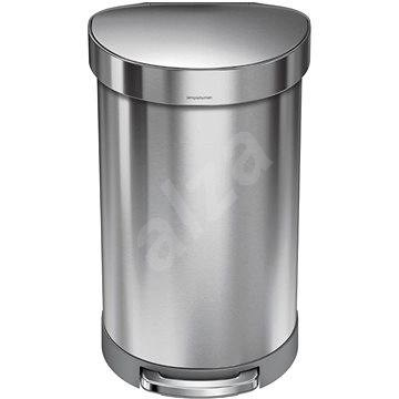 Simplehuman Pedálový kôš 45 l, polkruhový, matná oceľ, FPP, rám na vrecká - Odpadkový kôš
