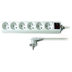 Solight Predlžovací prívod, 6 zásuviek, biely, vypínač, 5 m - Predlžovací kábel