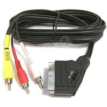 PremiumCord Kábel SCART - 3xCINCH M/M 1.5m s prepínačom - Dátový kábel